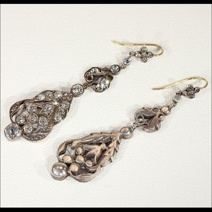 Antique French Paste Chandelier Earrings In Silver With