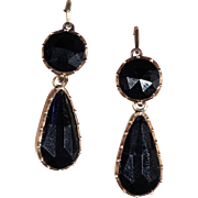 SALE Antique Georgian Jet 'Night and Day' Earrings in 9k Gold with Back to Front Wires