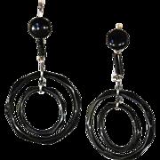 SALE Fabulous Art Deco Jet Double Circle Earrings in Silver, c. 1920