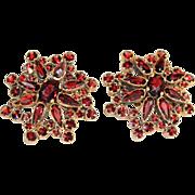 Antique Bohemian Garnet Earrings in 9k Gold, Victorian c. 1890