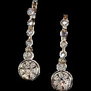 SALE Antique Edwardian Dangly Diamond Earrings, over 2 carats, *Video*