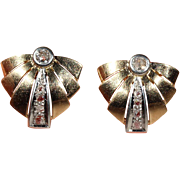 Vintage Art Deco Diamond Earrings in 18k Gold and Platinum