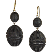 Antique Victorian Intricately Carved Bog Oak Drop Earrings with Silver Wires