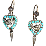 SALE Cheeky Victorian Angel Earrings with Turquoise Hearts, Silver and Gold