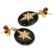 Antique Victorian Onyx and Pearl Star Earrings, 15k Gold, c. 1900