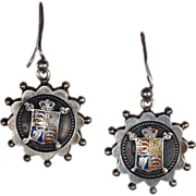 Victorian Silver Earrings with Enamel Shield Motif