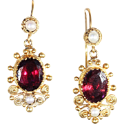Antique Etruscan Revivial Garnet and Pearl Earrings in 18k Gold