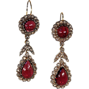 Vintage Cabochon Garnet and Diamond Earrings, Long and Lovely!