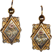 Antique Victorian Gold Forget-Me-Not Flower Earrings
