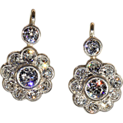 Antique Victorian Diamond Cluster Earrings in 15k Gold and Silver, 3ctw, *VIDEO*