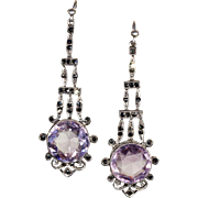 Vintage Art Deco Marcasite and Amethyst Earrings in Sterling Silver. Long and Lovely