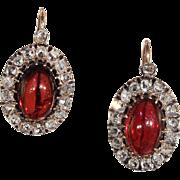 Stunning Victorian Garnet and Diamond Cluster Earrings