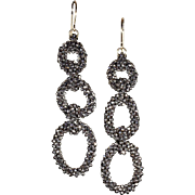 Stunning Cut Steel Bead Earrings, Triple Hoops c. 1870