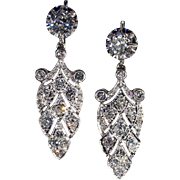 Stunning Antique French 4.2ctw Diamond Earrings in Platinum