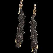 Antique Shakudo Dragon Earrings, Japanese c. 1870