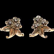 Vintage 1950s Flower and Leaf Diamond Earrings in 18k Gold