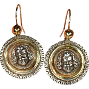 Antique Victorian Silver Cherub Earrings with Gold Wires, C. 1890