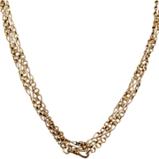 "Antique French Long Guard Chain, 18k Gold 58"" Long"