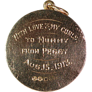 SALE Antique Diamond Locket, 18k Gold, Dated 1912, with Sweet Inscription on Back