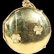 SALE Antique Art Nouveau Round 18k Gold Locket with Rose Cut Diamonds