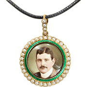 Round Enamel and Pearl 15k Locket with Portrait of a Gentleman