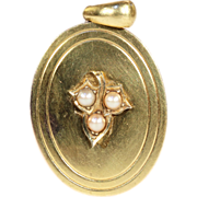 Antique 18k Gold Point Set Pearl Locket, c. 1880