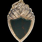 Antique Victorian 9k Gold and Bloodstone Sheild Locket