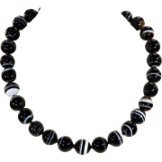 SALE Antique Banded Agate Bead Necklace, 18 inches