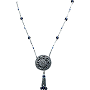 SALE Art Deco Sautoir Necklace with Chrysanthemum Plaque Drop and Blue and White Glass Beads