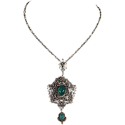 SALE Antique Silver and Chrysoberyl Victorian Necklace, Filigree