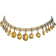 SALE Antique Georgian Citrine and Pearl Choker Necklace in 18k and 9k Gold, c. 1830