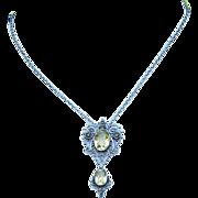SALE Antique Victorian Silver Filigree and Citrine Necklace