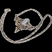 SALE Antique Art Nouveau Sterling Silver and Agate Necklace, c. 1910
