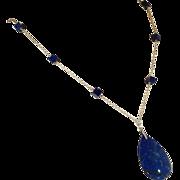 SALE Art Deco Lapis Lazuli Necklace with Teardrop Pendant