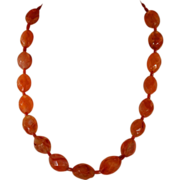 Antique Edwardian Carnelian Bead Necklace with 9k Gold Clasp