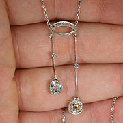 Stunning Antique French 18k and Platinum Negligee Necklace c.1910