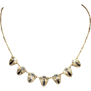 Vintage Art Deco Necklace in 18k White and Yellow Gold with Sun Ray Design