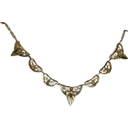 Antique Belgian 18k Necklace, Revivalist Style