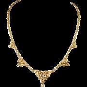 Antique Art Nouveau Necklace, 18k Gold and Pearls