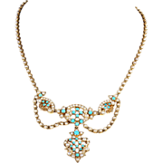 Gorgeous Antique Victorian Turquoise and Pearl Necklace in 15k Gold
