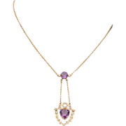SALE Fantastic Edwardian Amethyst Heart and Pearl Necklace in 9k Gold, c. 1905
