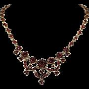 Antique Bohemian Garnet Necklace, 18.5 Inches, c. 1890