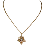 Victorian Pearl and Opal Necklace, Antique 15k Gold