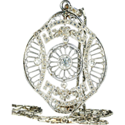 Antique French Edwardian Platinum and Diamond Pendant on Platinum Chain