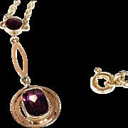 Edwardian Amethyst Drop Necklace in 9k Gold, c. 1910