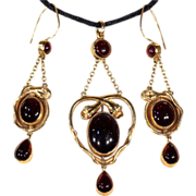 SALE Antique Garnet Cabochon Snake Earrings and Matching Pendant Demi-Parure in 15k Gold