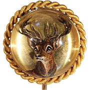 SALE Antique Victorian Essex Crystal Stag Stick Pin in 18k Gold