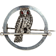 SALE PENDING Antique Victorian Sterling Silver Owl in Moon Brooch Pin