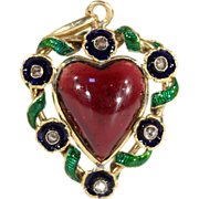 SALE Antique Heart-Shaped Garnet Pendant with Enamel and Rose Cut Diamond, 18k Gold, c. 1870