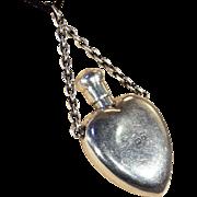 SALE Antique Sterling Silver Heart-Shaped Perfume Bottle Pendant